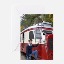 Vivarais railway engineer-le-Vieux/S Greeting Card