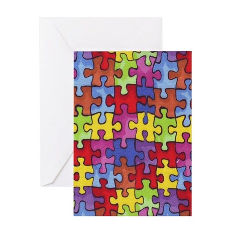 6.57_AUTISM-CURE-PUZZLE Greeting Card