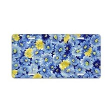 1.04_BLUE-DAISIES Aluminum License Plate