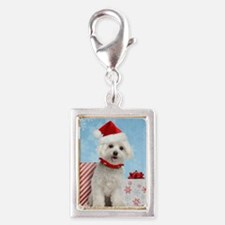 maltesechristmasfront Silver Portrait Charm