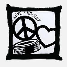 P,L,Hockey, black Throw Pillow