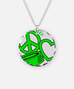 P,L,Hockey, neon green2 Necklace
