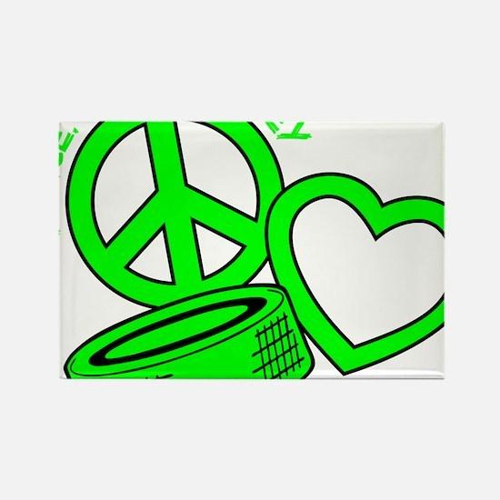 P,L,Hockey, neon green2 Rectangle Magnet