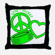 P,L,Hockey, neon green2 Throw Pillow