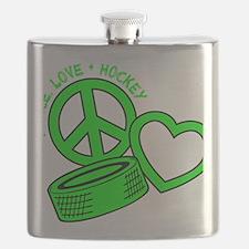 P,L,Hockey, neon green2 Flask