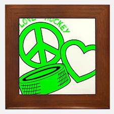 P,L,Hockey, neon green2 Framed Tile