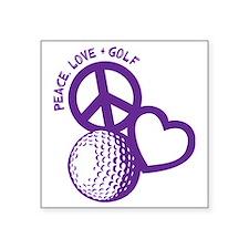 "P,L,Golf, violet Square Sticker 3"" x 3"""