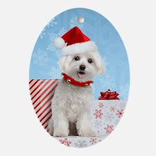 Maltese Christmas Card Oval Ornament