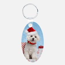 Maltese Christmas Card Keychains