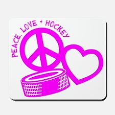 P,L,Hockey, hot pink Mousepad