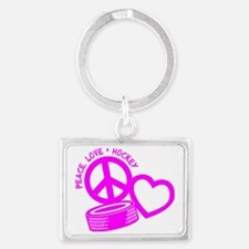 P,L,Hockey, hot pink Landscape Keychain