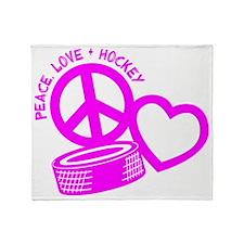 P,L,Hockey, hot pink Throw Blanket