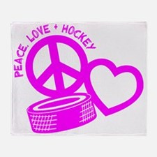 P,L,Hockey, hot pink Throw Blanket