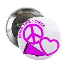 """P,L,Cheer, hot pink 2.25"""" Button"""