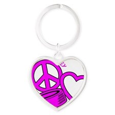 P,L,Hockey, hot pink2 Heart Keychain