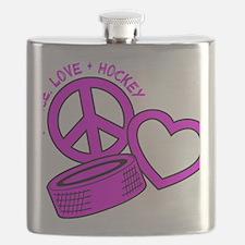 P,L,Hockey, hot pink2 Flask