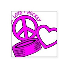 "P,L,Hockey, hot pink2 Square Sticker 3"" x 3"""