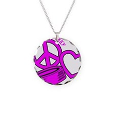 P,L,Hockey, hot pink2 Necklace Circle Charm