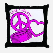P,L,Hockey, hot pink2 Throw Pillow
