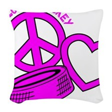 P,L,Hockey, hot pink2 Woven Throw Pillow