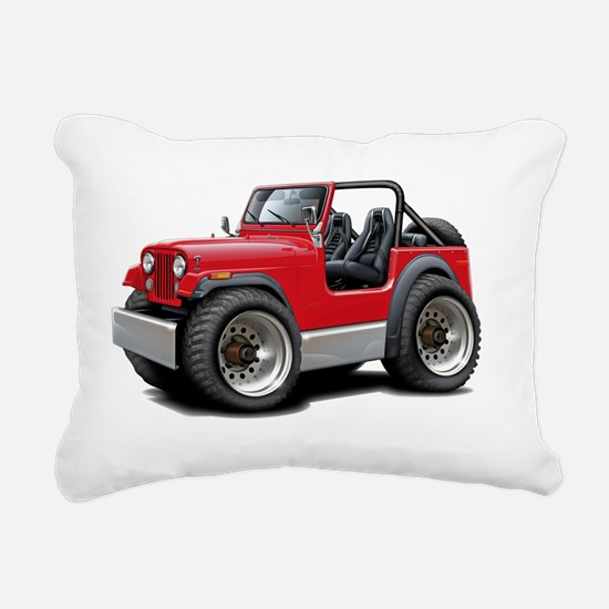 Jeep Red Rectangular Canvas Pillow