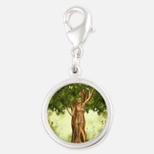 Mother Earth Silver Round Charm