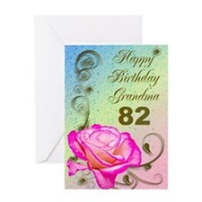 82nd birthday card for grandma, Elegant rose Greet