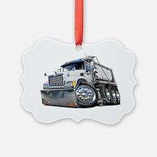 Mack Dump Truck White Ornament