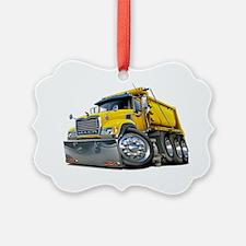 Mack Dump Truck Yellow Ornament