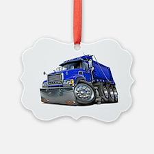 Mack Dump Truck Blue Ornament