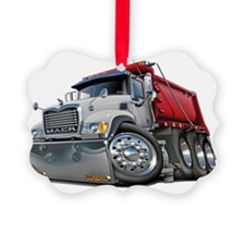Mack Dump Truck White-Red Ornament