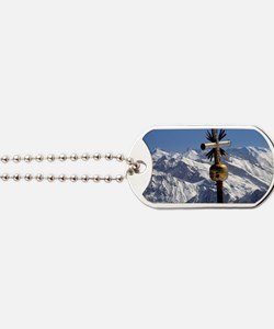 A cross marks the summit of the Zugspitze Dog Tags