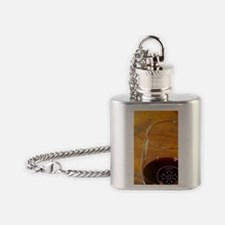 Glass embossed marked with AOC Lang Flask Necklace