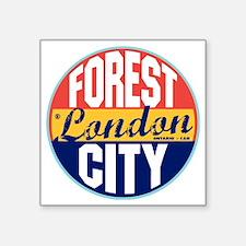 "London Vintage Label W Square Sticker 3"" x 3"""