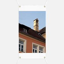 Regensburg. Historic Salt House with crosse Banner