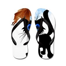Black Halloween Kitty and Bat Trans Flip Flops