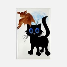 Black Halloween Kitty and Bat Tra Rectangle Magnet