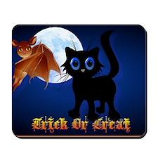 Trick or Treat Black Kitten and Bat-Yard Mousepad
