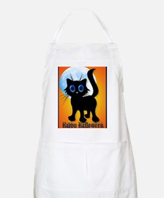LargePosterHappy Halloween Black Kitten Apron