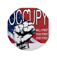 occupy flag and fist painting wall  Round Ornament