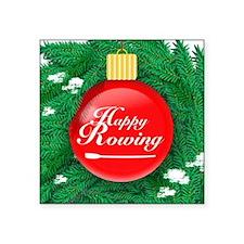 """ornament_redball Square Sticker 3"""" x 3"""""""
