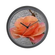 coral rose - squared off Wall Clock