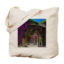 Corsica. Flowers in bloom on arbors above Tote Bag