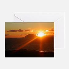 sunset behind Ailsa Craig Greeting Card