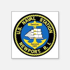 "NEWPORT US Naval Station Rh Square Sticker 3"" x 3"""