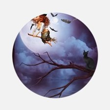 little_witch_16x20_print Round Ornament