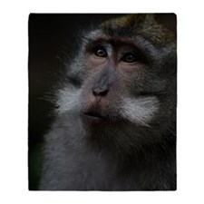 Long-Tailed Macaque Throw Blanket