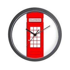 British Red Telephone Box Wall Clock