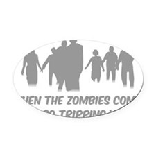 ZombiesTripping3 Oval Car Magnet