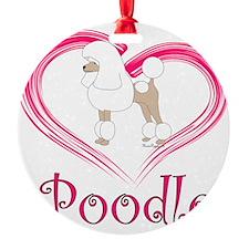 PoodleWhiteHeart Ornament